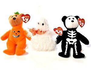 3x TY HALOWEENIE BEANIES Beanie Babies Boneses Stuffed Animal Plush Lot NWT c635