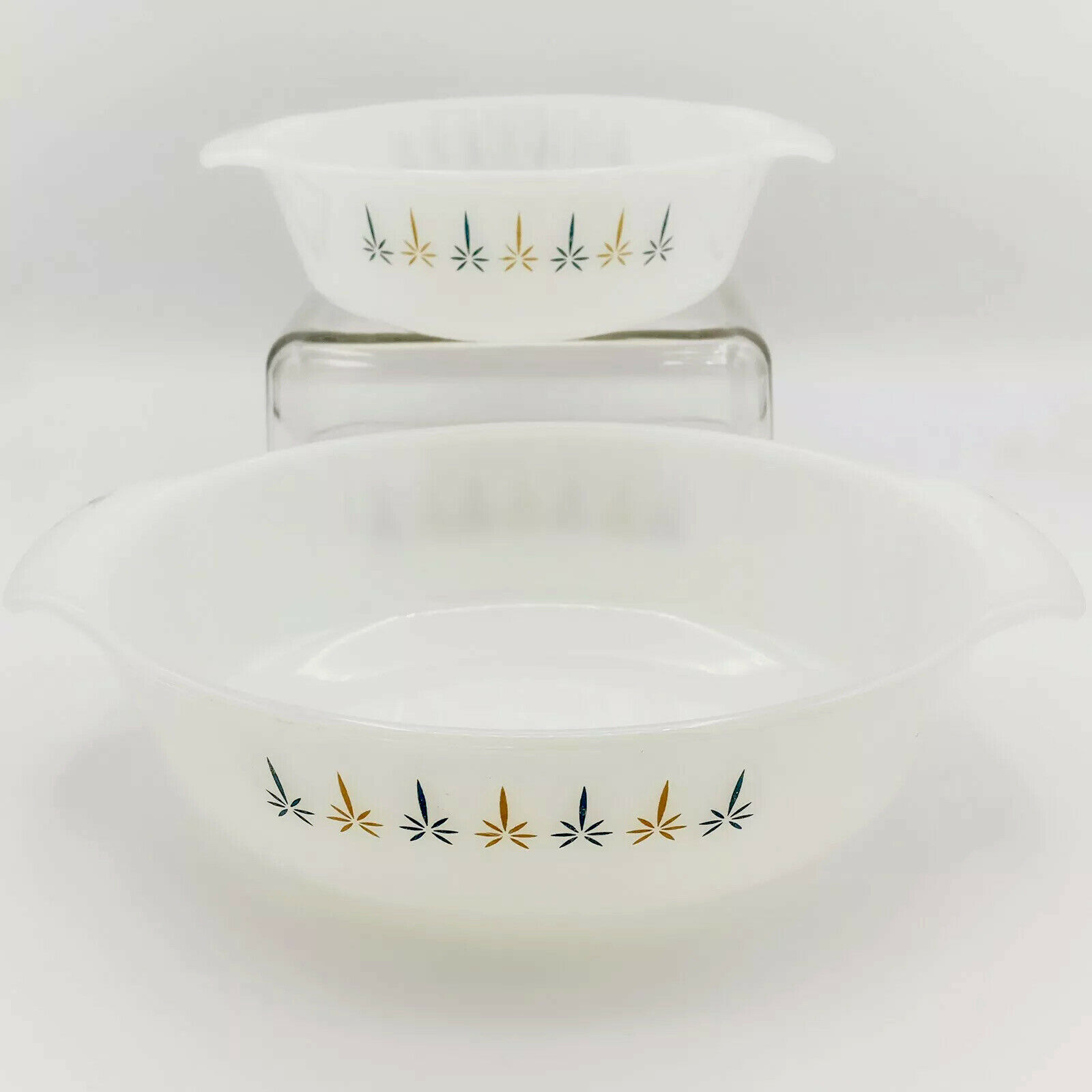 Vintage Anchor Hocking Fire King Candle Glow 1 12 Quart Casserole Dish #437 with Metal and Wood Holder