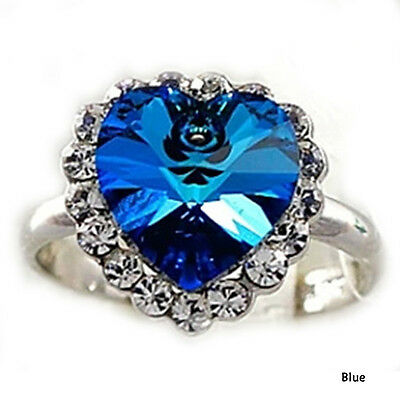 Chic Crystal Full Rhinestones Titanic Heart of Ocean Ring Jewelry Gift New