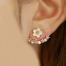 Fashion Jewellery Gold Plated Front & Back Crystal & Small Daisy Flowers Earring