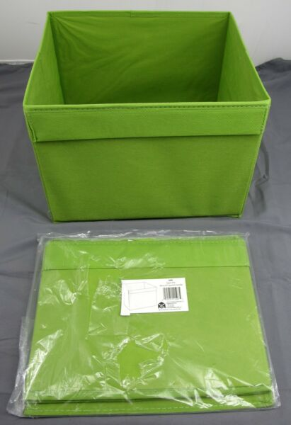 2 Household Essentials Basic Open Storage Bin W/ Pocket Handle - Moss Green #686 Punctual Timing