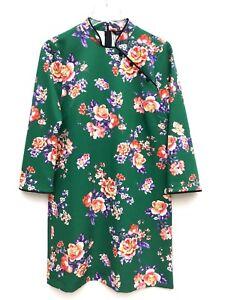 Zara-Verde-Estampado-Floral-Mini-Dress-Size-S-M