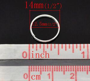 50pcs 14 mm Plaqué Argent SP Split Anneaux plomb Nickel Safe Apprêts Bijoux