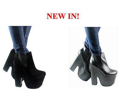 NEW LADIES WOMENGIRLS CHUNKY GOTH  HIGH HEEL PLATFORM PULLON ANKLE BOOT SIZE3- 8