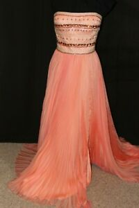 NWT-Sherri-Hill-32182-Size-16-Peach-jeweled-long-formal-PROM-GOWN-FREE-SHIP