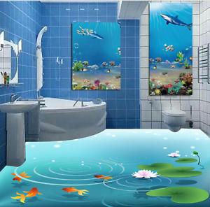 3D goldfish Lotus 7544  Floor Wall Paper Murals Wall Print AJ WALLPAPER UK Lemon