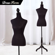 Female Mannequin Torso Dress Colthing Form Body Display With Tripod Stand Black
