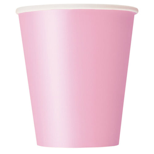 9oz 14 Paper CUPS 266ml Plain Solid Colours Birthday Party Catering Tableware