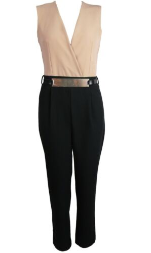New V Neck Wrap Gold Belt Sleeveless Two Tone Tailored Smart Casual Jumpsuit