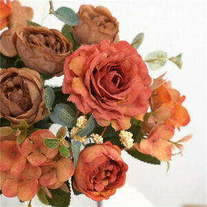 Autumn Winter Home Party Decoration Artificial Flower Fake Silk Peony Bouquet Uk Ebay