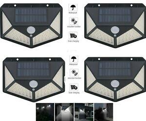 4pcs-Lampada-luce-faretto-faro-esterno-energia-solare-100-LED-sensore-movimento