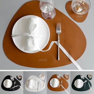 2 Pcs Set Of Leather Pads Triangle Mat Waterproof Kitchen Dining Table Placemat Ebay