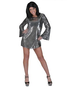 d8c3e78a3d Details about 70's Disco Mini Dress/ Tunic Top Sequin Bell Sleeve Groovy Go  Go Costume Asso