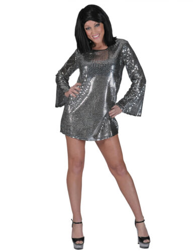 70/'s Disco Mini Dress// Tunic Top Sequin Bell Sleeve Groovy Go Go Costume Asso.