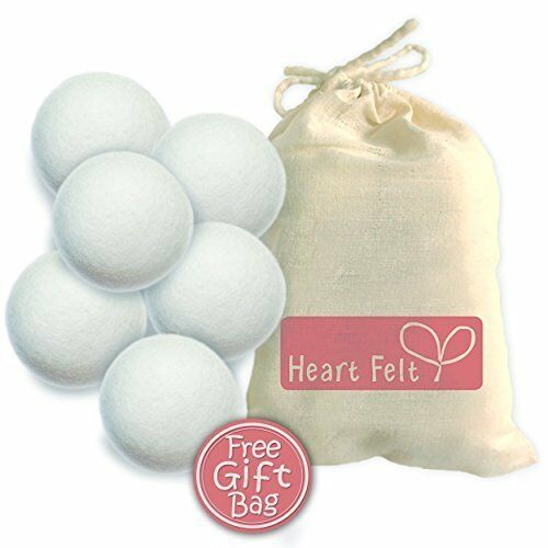 6 Extra-large Balls Made with Premium 1 Wool Dryer Balls By Heart Felt Six Pack