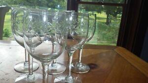 Javit Crystal Wine glasses goblets bright cut etched stemware 6 7oz stems 1960s