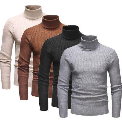 Fashion Men Cotton Solid Knitted Turtleneck Warm Slim Fit Sweater Cardigan UK