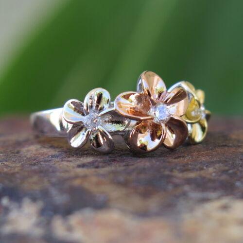 Hawaiian Silver Tricolor Gold 3 Plumeria Flower CZ Wedding Ring Band 10mm SR2077