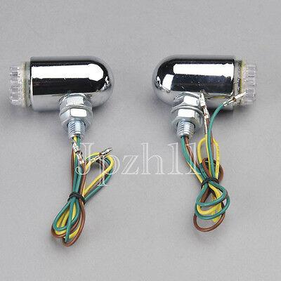2x 24 Amber LED Motorcycle Cruiser Chrome Brake/Running/Turn Signal Tail Light