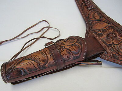 .38//.357 CAL.COWBOY WESTERN FAST DRAW GUN HOLSTER RIG TOOLED LEATHER RIGHT HAND