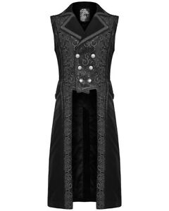 Punk Rave Mens Vest Waistcoat Black Damask Velvet Goth Steampunk Aristocrat VTG