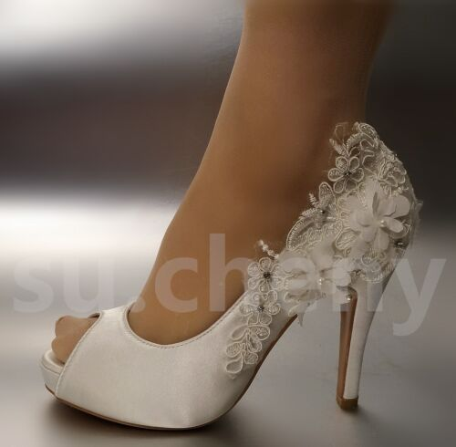 """su.cheny 3/"""" 4/"""" heel Pearl ivory silk lace open toe crystal Wedding Bridal shoes"""