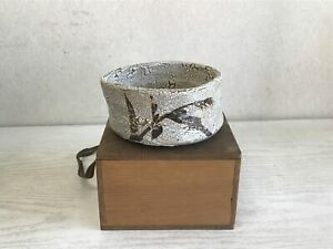 Y1250-CHAWAN-Shino-ware-signed-box-Japanese-Tea-Ceremony-bowl-pottery-Japan