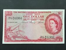 British Caribbean Territories One 1 Dollar P7c Queen Elizabeth II Date 1964 aUNC