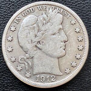 1912 D Barber Half Dollar 50c Higher Grade VF Det. #19632