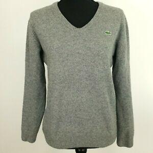 Lacoste-Damen-Pullover-5-Brustumfang-38-034-Grau-Wolle-Pulli-Pullover-Strick-V-Ausschnitt