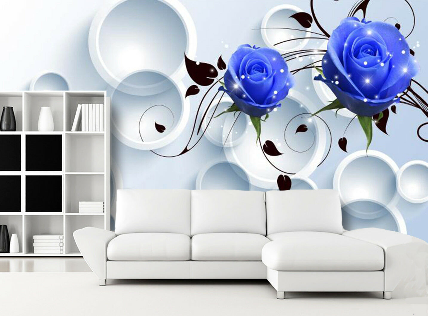3D Blau Flower Circle  Wallpaper Mural Wall Print Wall Wallpaper Murals US Carly