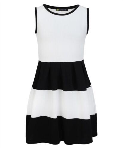 Girls Summer Sleeveless Skater Dress Textured Casual Party Top Skirt 3-14 Years