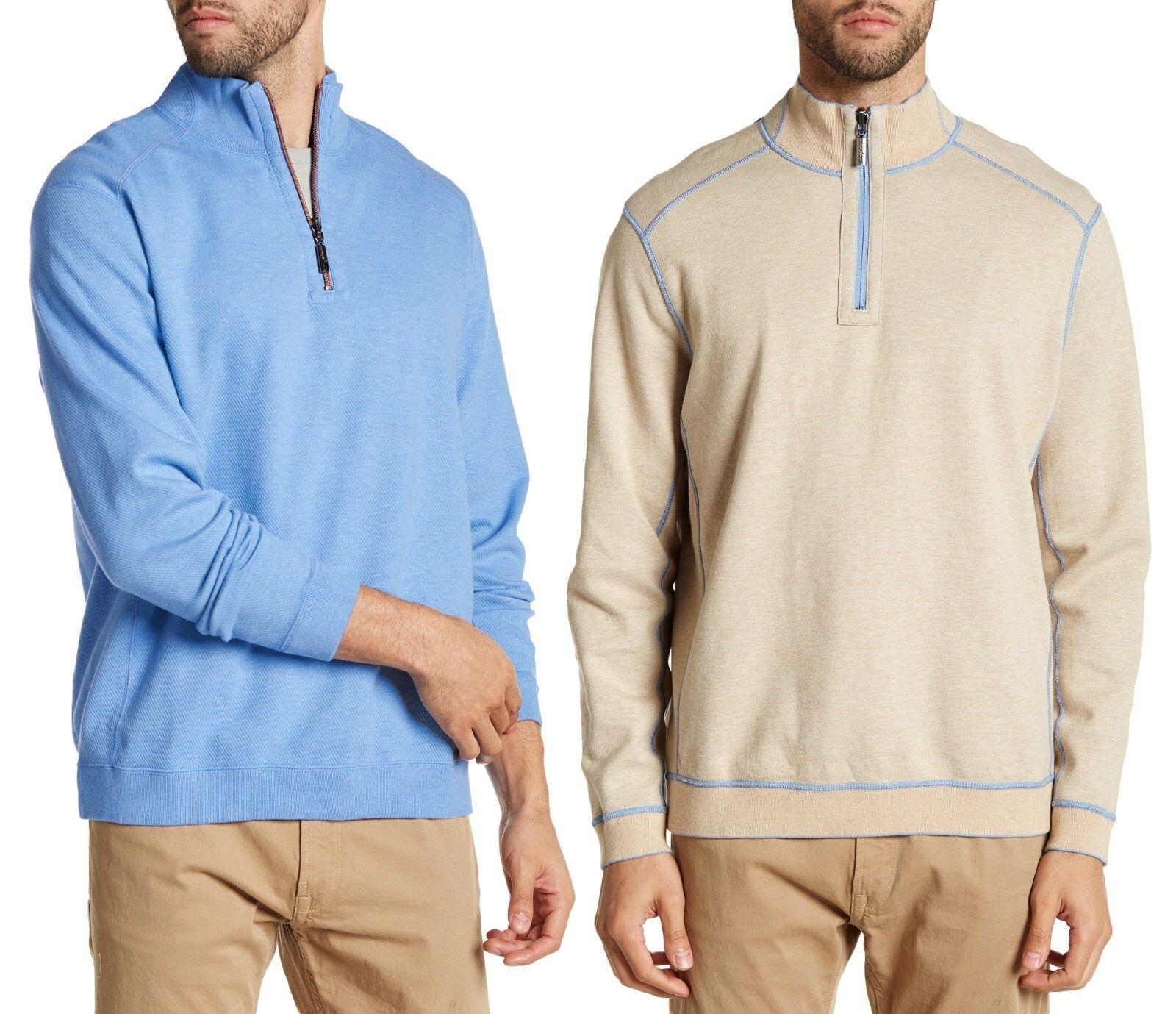 TOMMY BAHAMA Flip Side 1/2 Zip Reversible Sweater Sweatshirt Sz.Large NWT 98