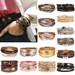 Fashion-Punk-Women-Leather-Cuff-Magnetic-Clasp-Bracelet-Bangle-Wristband-Jewelry