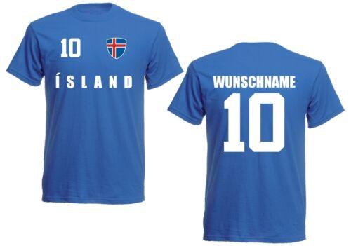 ISLANDE ICELAND T-shirt Maillot LOOK équipe Name /& Nr pression Football EM 2016 B