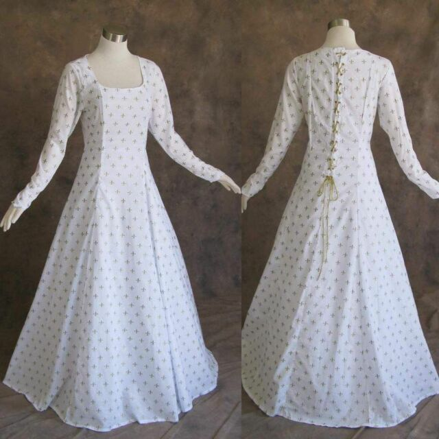 Medieval Renaissance Gown White Gold Dress Costume LOTR Wedding 3x ...