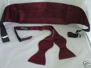 Vins-de-bourgogne-polyester-auto-cravate-noeud-papillon-et-ceinture-set-gt-p-amp-p-2UK-gt-gt-1st