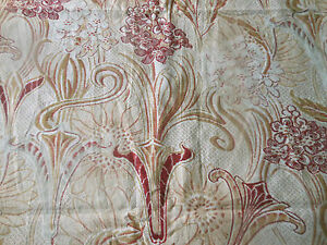 Antique-French-Art-Nouveau-Stylized-Floral-Cotton-Fabric-Burgundy-Red-Caramel