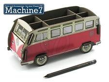 Classico VW Desk Tidy Storage Box PENNA PORTAPENNE Splitscreen Bus Samba Van rosso