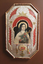 """Vintage Religious Art """"St.Therese Of Lisieux"""" Altar Diorama 3D Bubble Frame"""