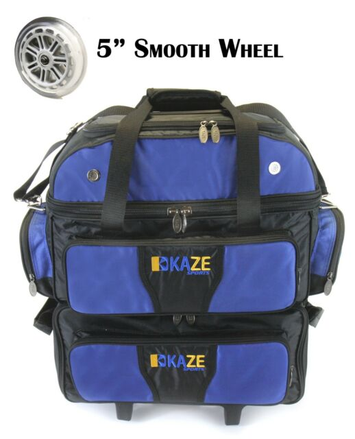 Kaze Sports 4 Ball Double Decker Bowling Bag Roller Tote With Smooth Pu Wheels