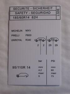 autocollant pression pneus peugeot 205 gti 1 6 ebay. Black Bedroom Furniture Sets. Home Design Ideas