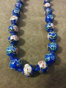 Vtg-Asian-Cobolt-Blue-Cloisonne-Enamel-Knotted-Flower-1-2-034-Bead-Necklace-24-034