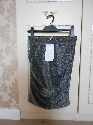 Gorgeous & Sexy Silver Designer Skirt By The Ichi Label Size S Bnwt Rrp £35 Women's Clothing Skirts