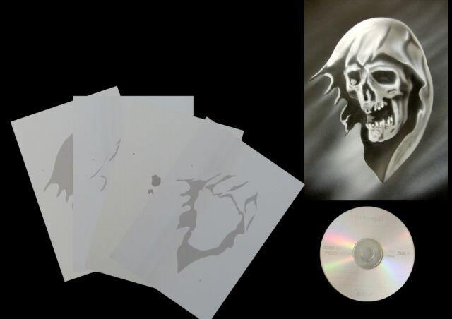 Airbrush Schablonen / Stencil / Step By Step 0653 Reaper Kopf mit  Anleitung