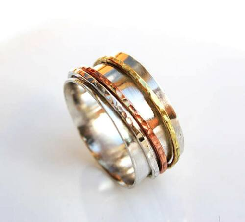 Solide Argent Sterling 925 spinner ring méditation Statement Ring Taille ss5499