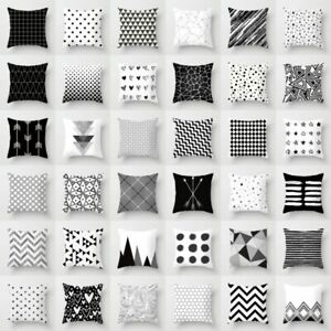 Black-amp-White-Geometric-Throw-Cover-Pillow-Cushion-Square-Case-Decor-Dazzling