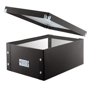 """Black Holds up to 330 CDs//DVDs CD Storage Box Double-Wide 6.125/""""x 10.5/""""x 14/"""""""