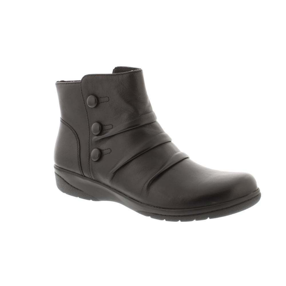 Clarks cheyn Anne Negro de cuero para mujer botas al tobillo de montaje e con cremallera interior
