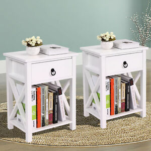 Set-of-2-Wood-White-Sofa-End-Side-Bedside-Table-Nightstand-W-Drawer-Storage